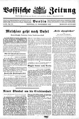 Vossische Zeitung vom 22.11.1931