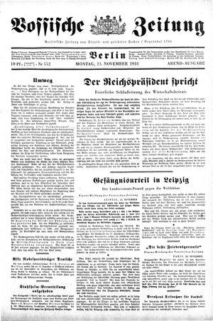 Vossische Zeitung vom 23.11.1931