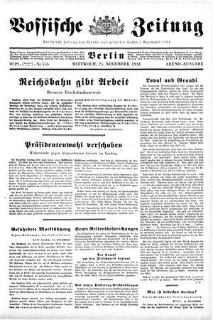 Vossische Zeitung vom 25.11.1931
