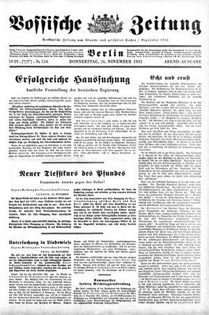 Vossische Zeitung vom 26.11.1931