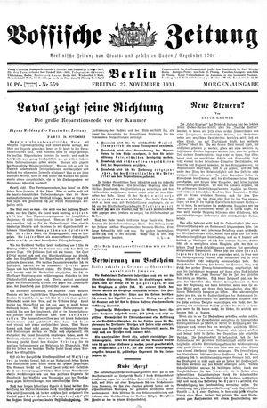 Vossische Zeitung on Nov 27, 1931