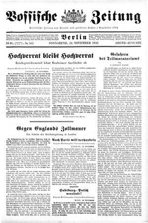 Vossische Zeitung on Nov 28, 1931