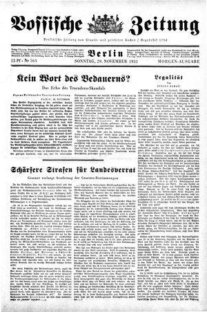 Vossische Zeitung vom 29.11.1931