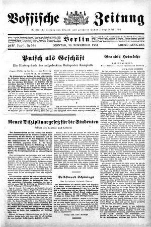 Vossische Zeitung vom 30.11.1931