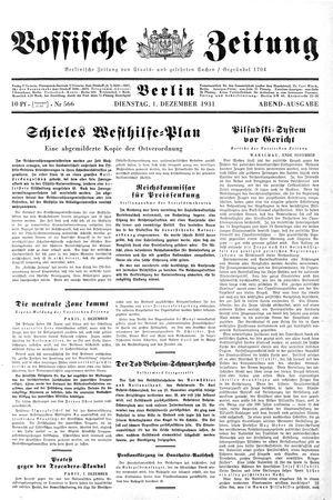 Vossische Zeitung on Dec 1, 1931
