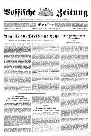 Vossische Zeitung on Dec 2, 1931