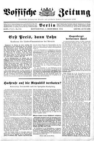 Vossische Zeitung vom 03.12.1931