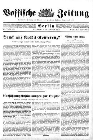 Vossische Zeitung on Dec 6, 1931