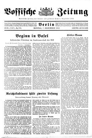 Vossische Zeitung on Dec 7, 1931