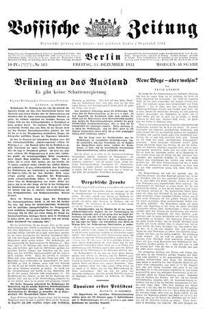 Vossische Zeitung vom 11.12.1931