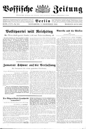 Vossische Zeitung vom 12.12.1931