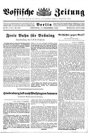 Vossische Zeitung vom 15.12.1931