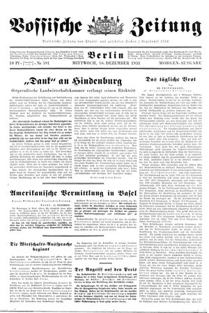 Vossische Zeitung vom 16.12.1931