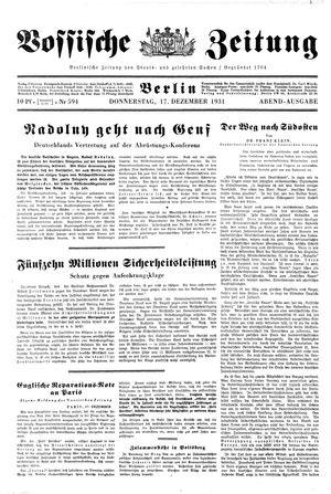 Vossische Zeitung vom 17.12.1931