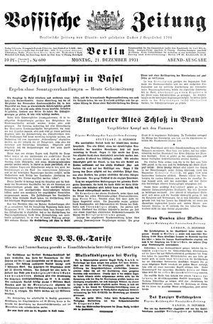 Vossische Zeitung vom 21.12.1931