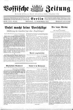 Vossische Zeitung on Dec 22, 1931