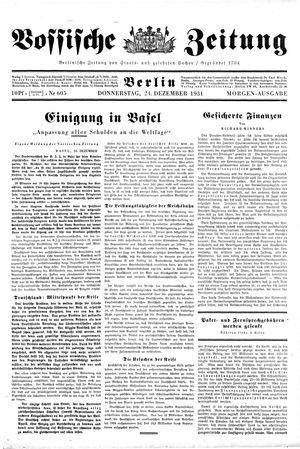 Vossische Zeitung on Dec 24, 1931