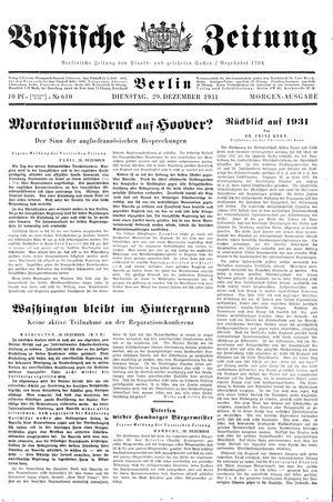 Vossische Zeitung vom 29.12.1931