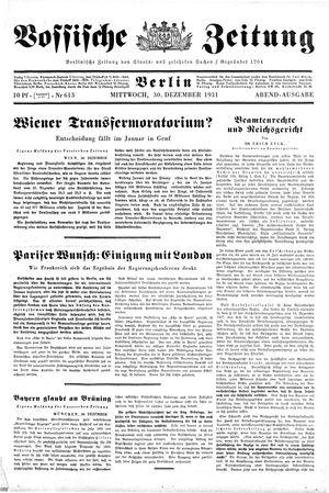 Vossische Zeitung vom 30.12.1931