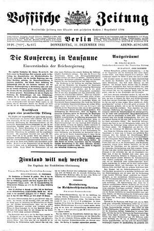 Vossische Zeitung vom 31.12.1931