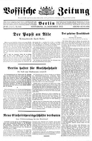 Vossische Zeitung vom 24.12.1932
