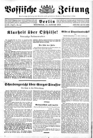 Vossische Zeitung on Jan 25, 1933