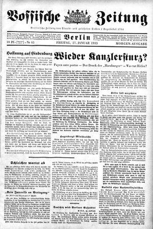 Vossische Zeitung vom 27.01.1933