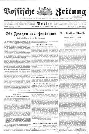 Vossische Zeitung vom 01.02.1933