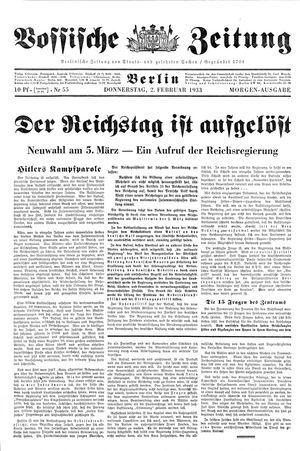 Vossische Zeitung vom 02.02.1933