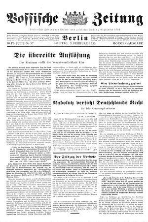 Vossische Zeitung vom 03.02.1933