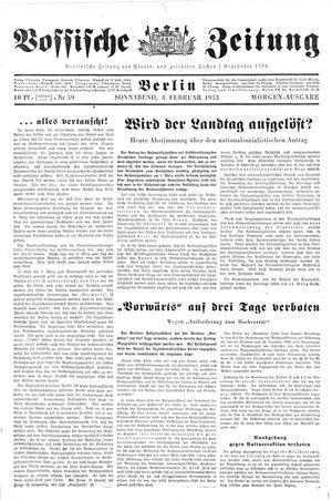 Vossische Zeitung vom 04.02.1933