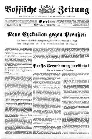 Vossische Zeitung vom 06.02.1933