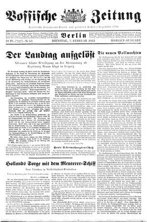 Vossische Zeitung on Feb 7, 1933