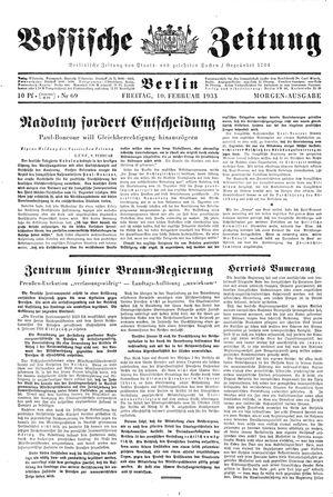 Vossische Zeitung vom 10.02.1933