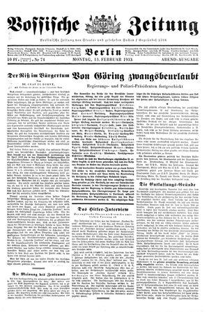 Vossische Zeitung on Feb 13, 1933