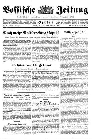 Vossische Zeitung vom 14.02.1933