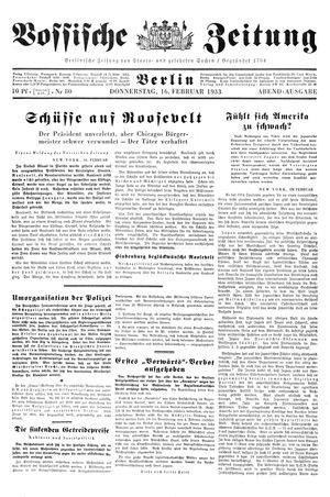 Vossische Zeitung on Feb 16, 1933