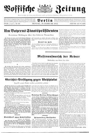 Vossische Zeitung vom 20.02.1933