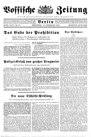 Vossische Zeitung vom 21.02.1933