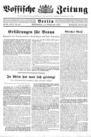 Vossische Zeitung vom 22.02.1933