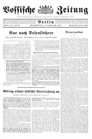 Vossische Zeitung vom 23.02.1933