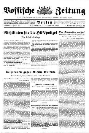 Vossische Zeitung vom 25.02.1933