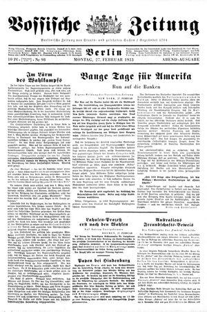 Vossische Zeitung vom 27.02.1933