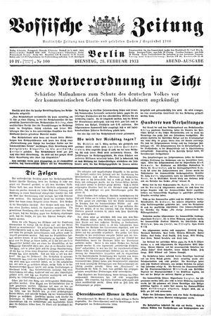 Vossische Zeitung vom 28.02.1933