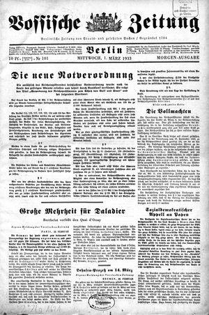 Vossische Zeitung vom 01.03.1933