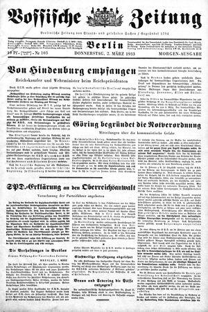 Vossische Zeitung vom 02.03.1933