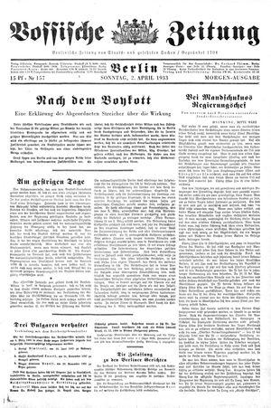 Vossische Zeitung vom 02.04.1933