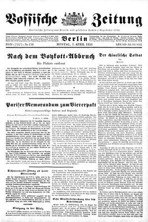 Vossische Zeitung on Apr 3, 1933