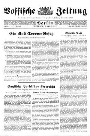 Vossische Zeitung vom 05.04.1933