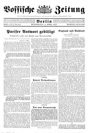 Vossische Zeitung on Apr 6, 1933